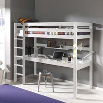 - Lit mezzanine en pin massif 90x200cm avec bureau intégré Pino
