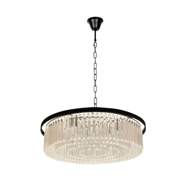 Luminaire Center Suspension design noire Loft 10 ampoules 89 Cm