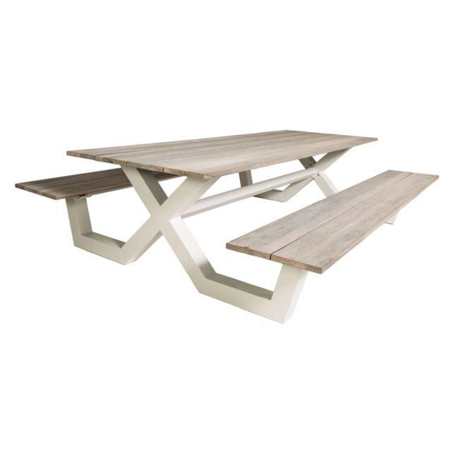 Gecko Jardin Table pique-nique alu blanc et teck 220 x 100 cm Swindon