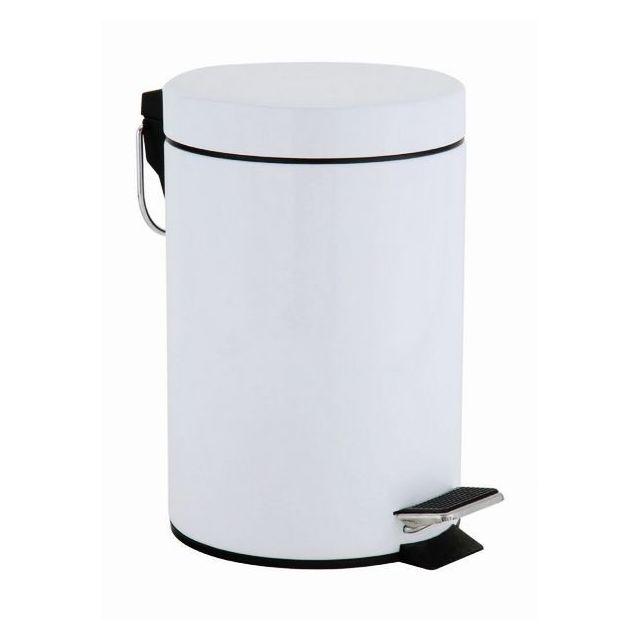 CARREFOUR HOME Poubelle à pédale 5 L en inox - Blanc - KB7392M.319