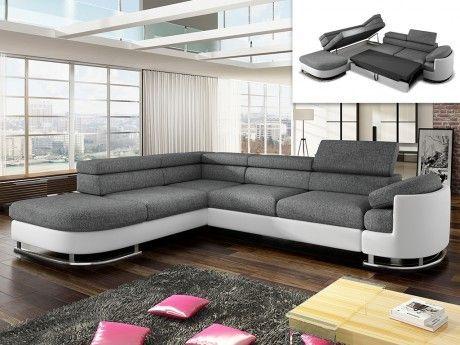 520904ebe9ab7 MARQUE GENERIQUE - Canapé d angle convertible en tissu et simili MYSEN - Blanc  et