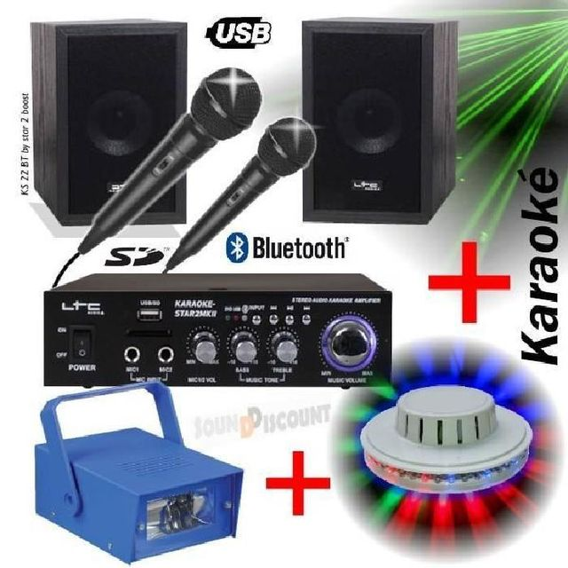 Ibiza Sound Pack light karaoke ks22 / star2 - ampli - enceintes - micro - usb bluetooth mp3 pa-dj