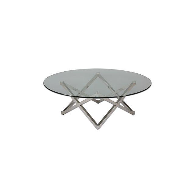 Table basse pied étoile en acier et verre trempé Glass