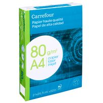 CARREFOUR - Ramette 500 Feuilles blanches - Format A4 - 80g/m²