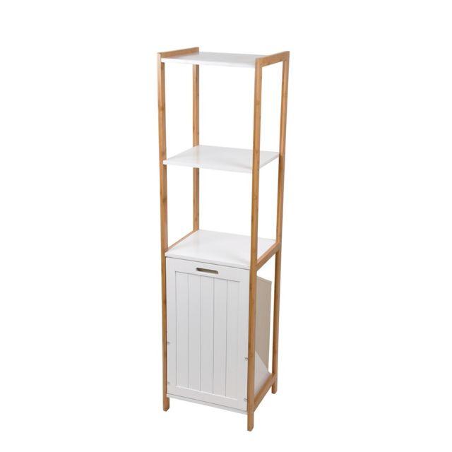 Meuble 3 étagères avec panier à linge bambou blanc
