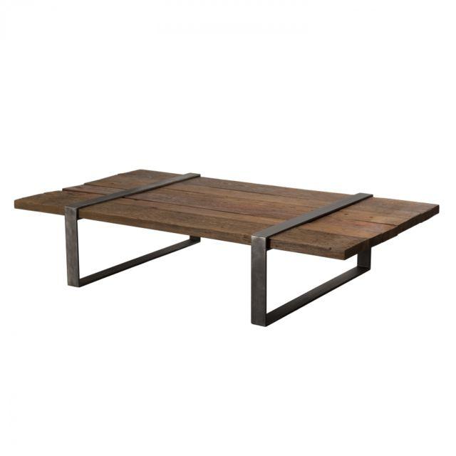 MACABANE Table basse multi-planches bois massif cerclée métal