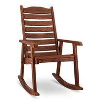 Blumfeldt - Alabama Fauteuil à bascule Chaise de jardin Bois massif Marron