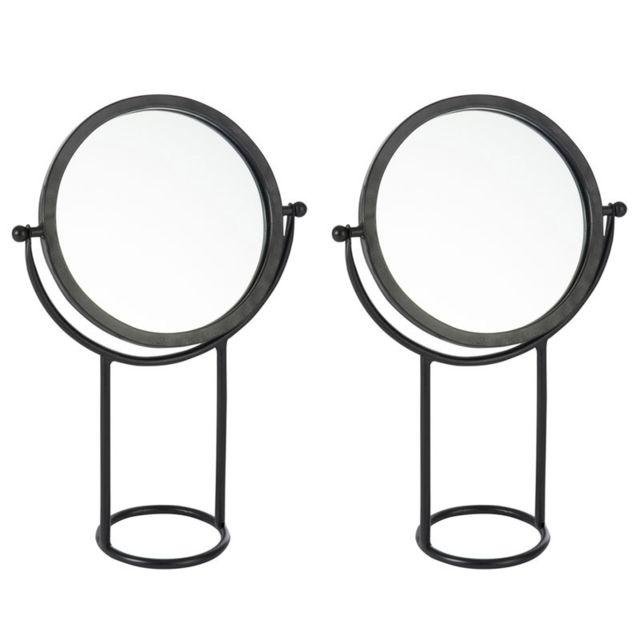 Tousmesmeubles Duo de miroirs sur pied rond Métal noir - Primer