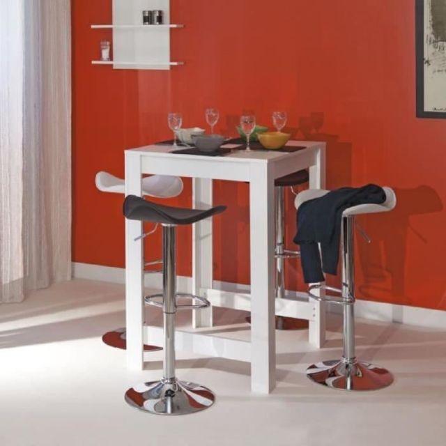 Table Haute 4 Personnes.Mange Debout Table De Bar Table Haute Curry Table Bar De 2 A 4 Personnes Style Contemporain Melamine Blanc Mat L 80 X L 70 Cm