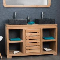 Meuble salle de bain en teck massif 120 cm