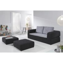Relaxima - Canape convertible NIGHT AND DAY 3 places + 2 poufs assortis - 2 coloris au choix