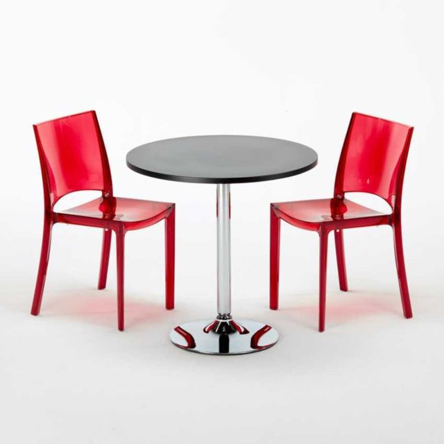 grand soleil table carr et ronde avec 2 chaises colo b side rouge transparent
