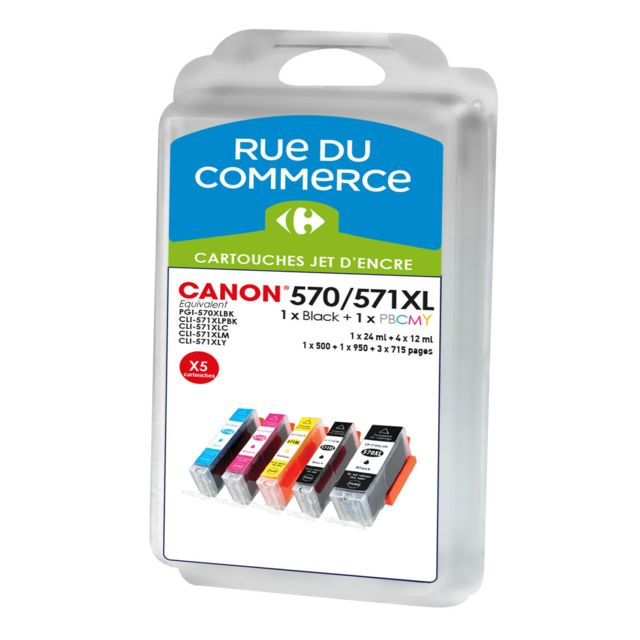 RUE DU COMMERCE Pack de 5 cartouches compatibles Canon PGI 570XL / CLI 571XL BK/C/M/Y/PHBK