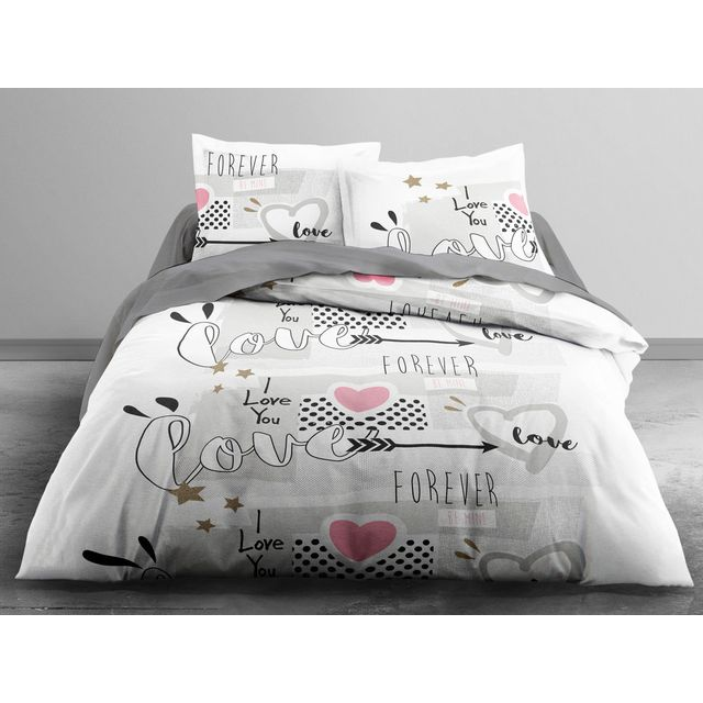 today parure housse de couette 240x220cm taies 100 coton coeur love you forever gris love. Black Bedroom Furniture Sets. Home Design Ideas