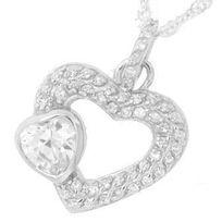 Touslescadeaux - Pendentif Argent Double Coeur, avec gros Zirconia