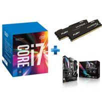 INTEL - Processeur Core i7-7700K 4.20GHz LGA1151 - KABYLAKE + HyperX Fury Black Series 16 Go 2 x 8 Go DDR4 2666MHz Cas 15 + Carte mère ASUS STRIX Z270E GAMING Socket 1151 - Chipset Z270 Kabylake