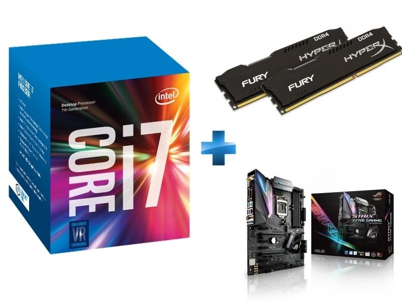Processeur Core i7-7700K 4.20GHz LGA1151 - KABYLAKE + HyperX Fury Black Series 16 Go 2 x 8 Go DDR4 2666MHz Cas 15 + Carte mère ASUS STRIX Z270E GAMING Socket 1151 - Chipset Z270 Kabylake