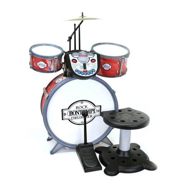 Bontempi Batterie enfant Rock avec module electronique et tabouret - Jouet musical