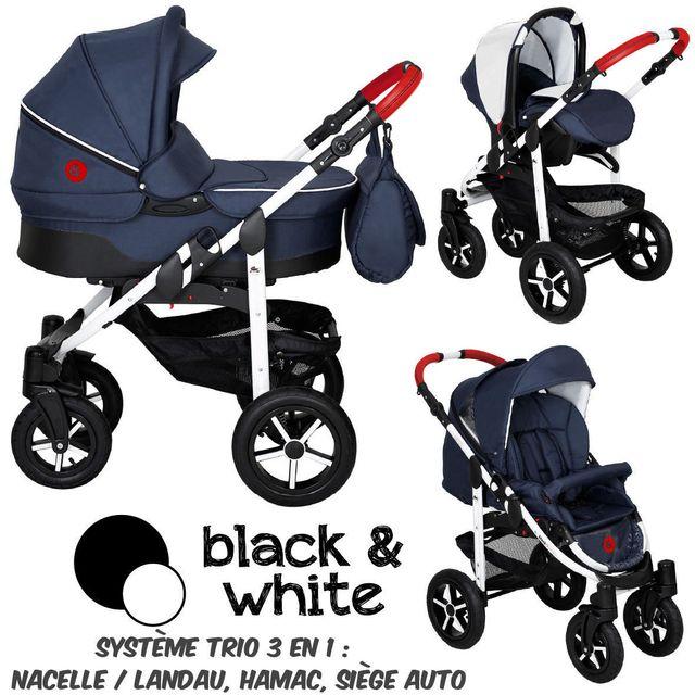 B&W - Poussette Combinée Trio 3 en 1 - Landau, poussette promenade, siège auto Groupe 0/0+ - Nombreux coloris - Livrée avec ses accessoires