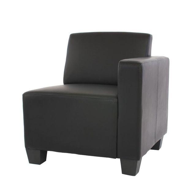 Canapé élément Lyon, élément latéral droit, modulaire, simili cuir, noir