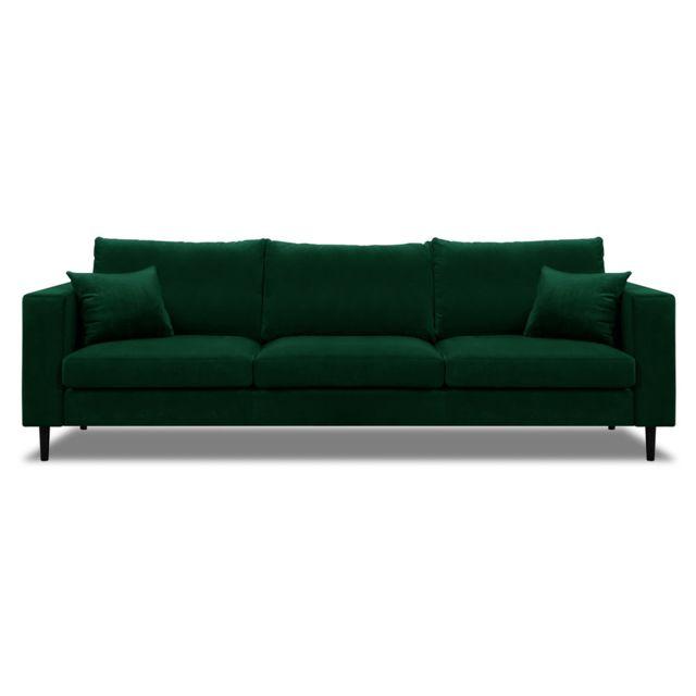 Pieds Graham Design Vert En Et Axe Canapé Droit Velours Bois 53L4ARjq