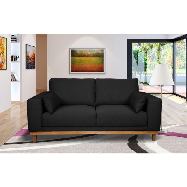 AUTRES Canapé 2 places fixes pieds bois massif en tissu anthracite noir - MARIE
