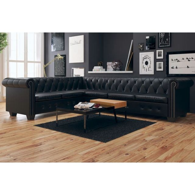 Icaverne Magnifique Meubles collection Yamoussoukro Canapé d'angle Chesterfield 6 Places Cuir artificiel Noir