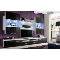 Asm-mdlt - Ensemble meuble Tv mural Space en noir et blanc de haute brillance avec Led