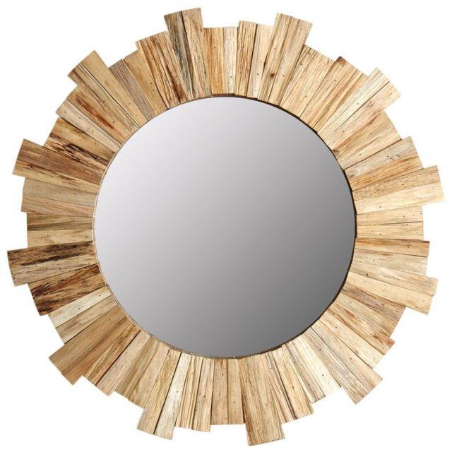 AUBRY GASPARD Miroir rond soleil en pin