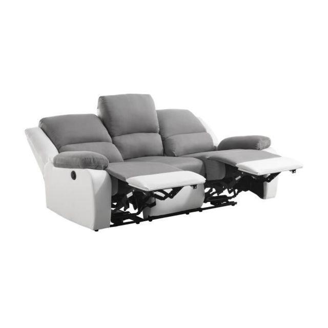 CANAPE - SOFA - DIVAN RELAX Canapé de relaxation électrique 3 places - Simili blanc et tissu gris - Contemporain - L 190