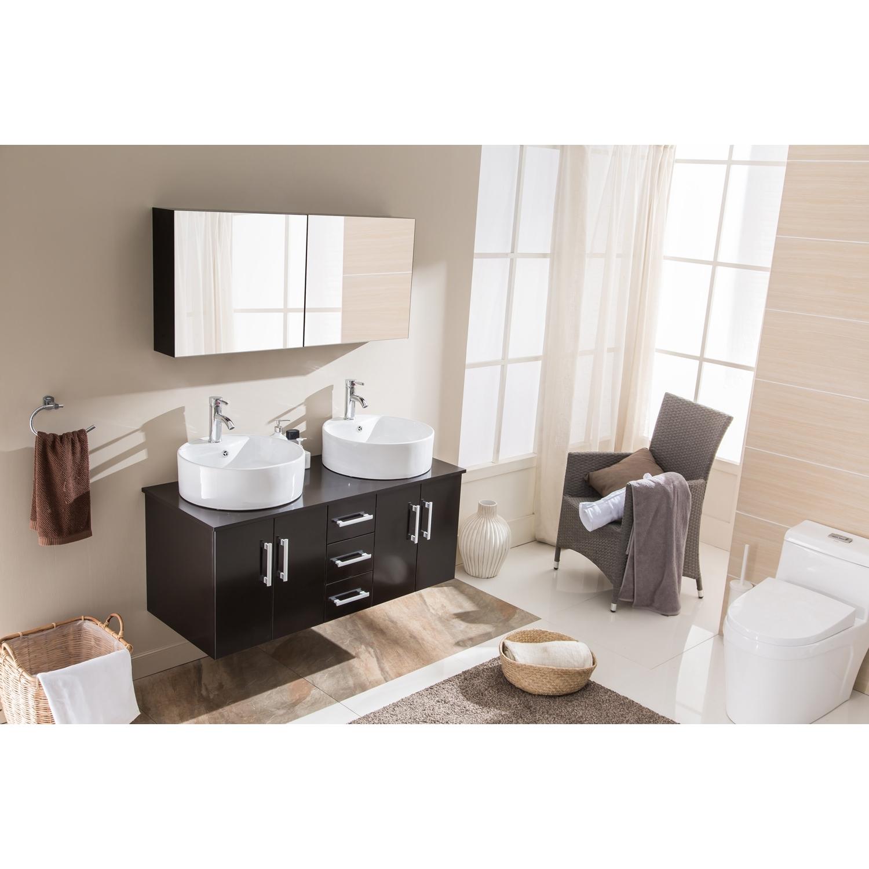 Ambre Wenge: ensemble salle de bain 2 meubles + 2 vasques + 1 mirroir