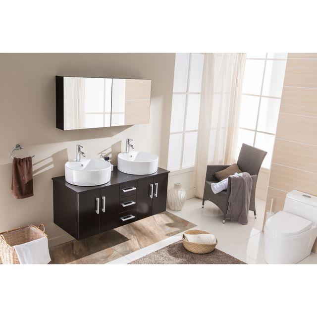 Concept Usine Ambre Wenge: ensemble salle de bain 2 meubles + 2 vasques + 1 mirroir
