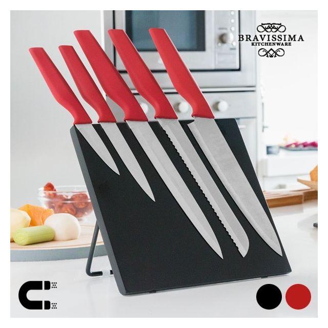 Exclusif Shopping Vip Couteaux avec Support Magnétique Bravissima Kitchen 6 pièces