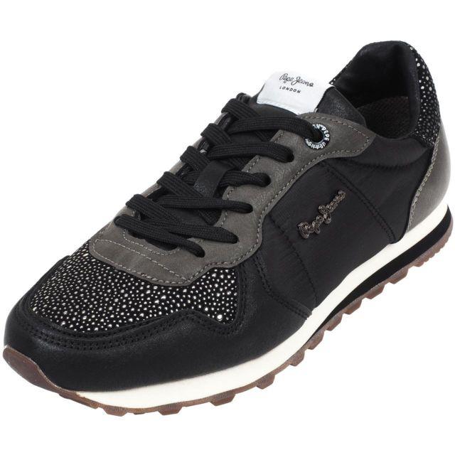 Pepe Jeans - Chaussures mode ville Pepe jeans Verona w volcan noir Noir  26215 b44a9faea055