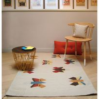 Art For Kids - Tapis Papillons chambre Fille - Couleur - Beige, Taille - 110 / 160 cm