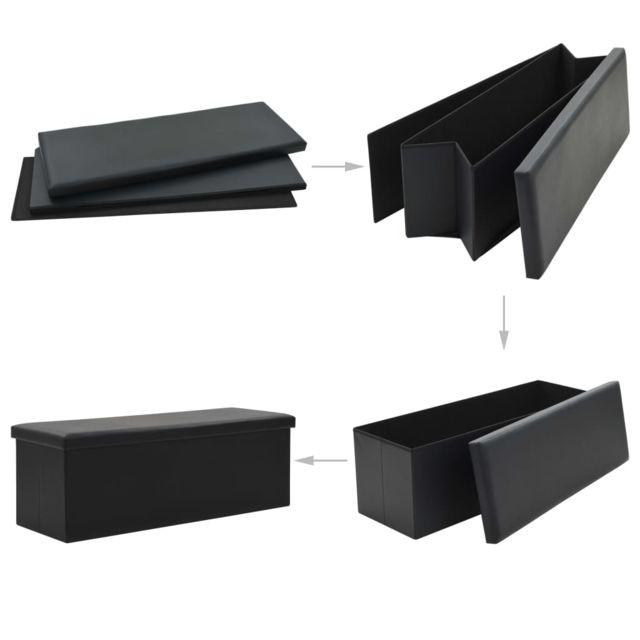 Icaverne - Bancs coffres edition Banc de rangement pliable Similicuir 110 x 38 x 38 cm Noir