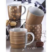 Table & Cook - Coffret De 4 Mugs Décorés - Soft Gold