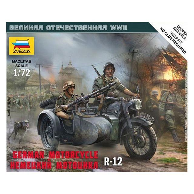 zvezda maquette moto allemande r 12 avec side car pas cher achat vente voitures. Black Bedroom Furniture Sets. Home Design Ideas