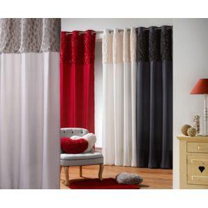 sans marque rideau oeillets 140 x 260 cm coeurs diff rents coloris naturel pas cher. Black Bedroom Furniture Sets. Home Design Ideas