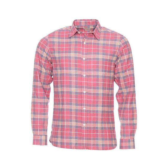 selected chemise cintr e en jersey de coton doux carreaux rose p le beiges et gris pas. Black Bedroom Furniture Sets. Home Design Ideas