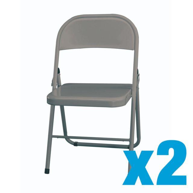 Super CARREFOUR HOME - Lot de 2 Chaise pliante - Métal - Gris clair VZ-26