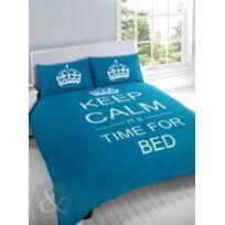 Just Contempo - Parure De Lit Motif Keep Calm It'S Time For Bed, Poly Coton, Turquoise, Housse De Couette Double