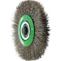 Forum - Brosse circulaire, fil d'acier inoxydable de 0,3 mm, ondulé, Ø de la brosse : 125 mm, Larg. : de travail 22 mm, Vitesse maxi. 6000 tr/mn