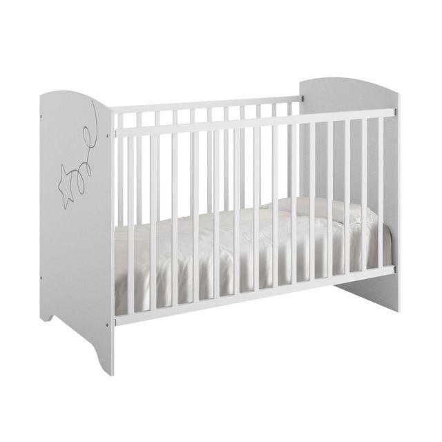 Galipette Lit bébé 60x120cm décor blanc étoile cerf-volant Adele