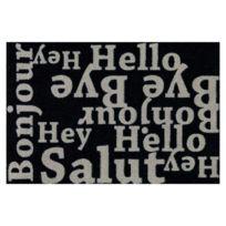 Allotapis - Paillasson noir en Nylon et lavable en machine Hello