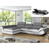 MARQUE GENERIQUE - Canapé d'angle convertible en simili ORLEANS - Gris et bandes blanches - Angle gauche