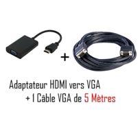Cabling - Adaptateur convertisseur Hdmi vers Vga 1920x1080 pour ordinateur de bureau / portable / ultrab, + Cable Vga 5 mètres