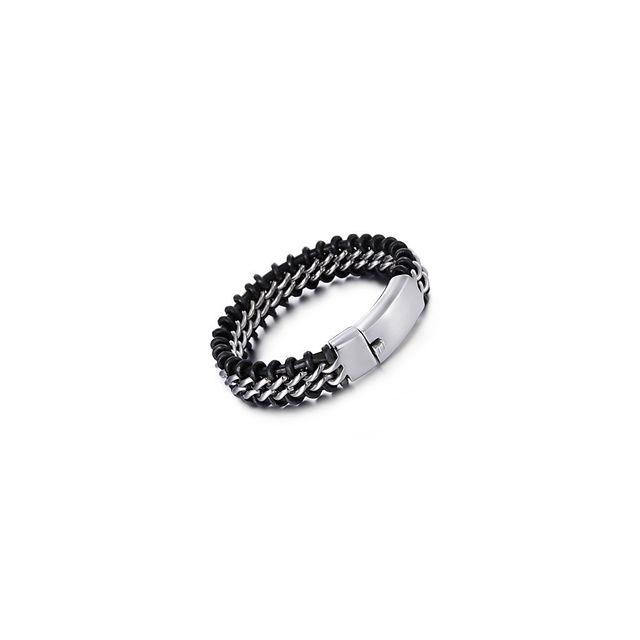 e662b9954b25e Alpexe - Bracelet pour homme à maillons noir et argent. Matière   Acier