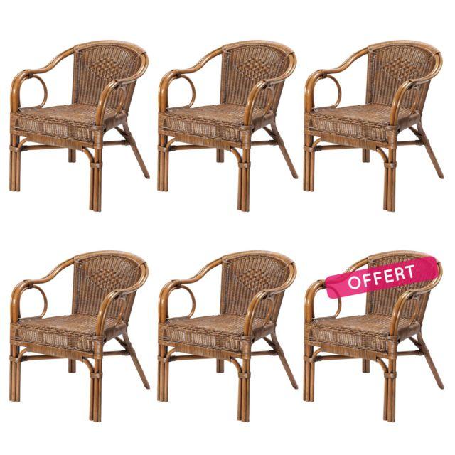 Rotin-design Soldes: -43% Lot de 6 fauteuils en fitrit tressé Palma - Rotin Design