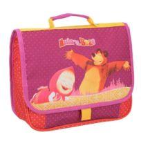 Aucune - Masha & The Bear Cartable Maternelle - 1 Compartiment - 3 a 6 ans - 32cm - Rouge - Enfant Fille